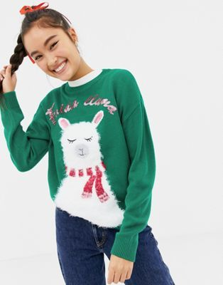 New Look Christmas Jumper With Llama Print In Green Style