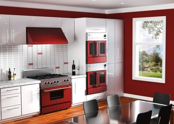 Bluestar 36 freestanding range 30 wall ovens and 36 for Teal and red kitchen