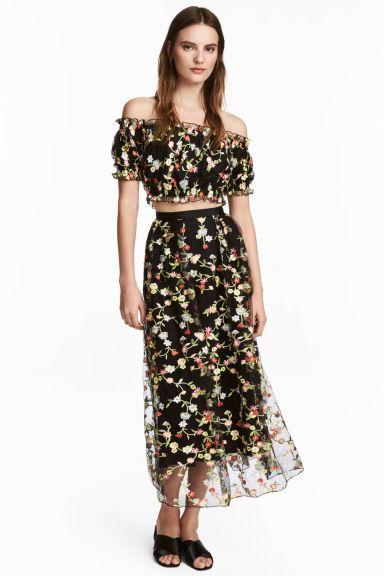 Spódnica z siateczki z haftem - Czarny/Kwiaty - ONA | H&M PL 1