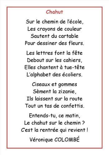 """Rallye-liens """"une poésie pour la rentrée"""" - poésie de rentrée CE2 : """"Chahut"""" et carte mentale"""