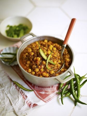 Jamie Oliver's chickpea curry.  Recipe: http://www.jamieoliver.com/recipes/vegetables-recipes/chickpea-curry
