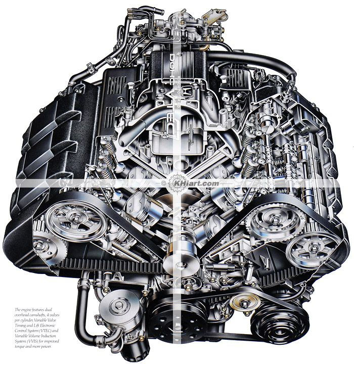 Acura NSX Engine Cutaway Illustration