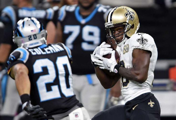 Panthers vs. Saints:      October 16, 2016  -  41-38, Saints  -     New Orleans Saints wide receiver Brandin Cooks (10) pulls in a touchdown reception in front of Carolina Panthers strong safety Kurt Coleman (20) in the first half of an NFL football game in New Orleans, Sunday, Oct. 16, 2016.