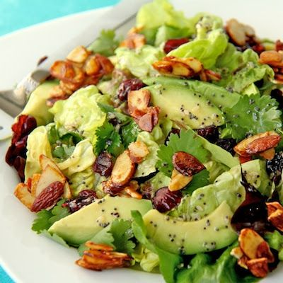 Cranberry-Avocado Salad with Candied Spiced Almonds and Sweet White Balsamic Vinaigrette #Healthy Recipe
