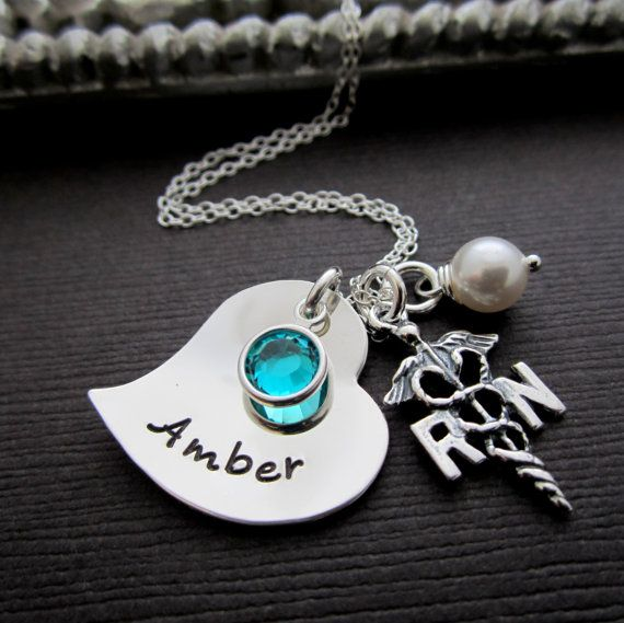 Personalized Registered Nurse RN Charm Jewelry Gift by ShinyMetals, $47.00