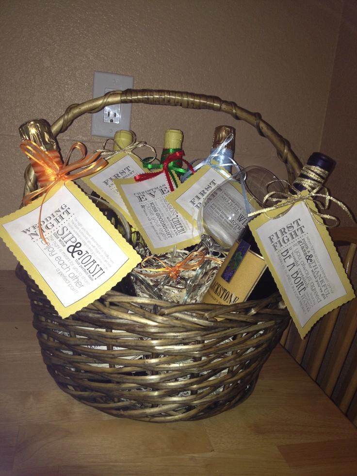 wine wedding shower gift poem%0A Bridal shower wine basket with poems