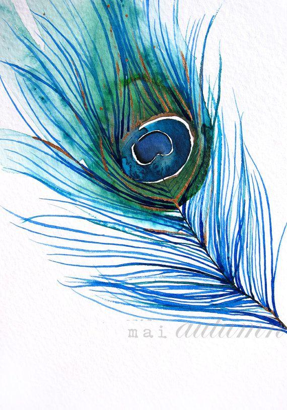 50 % de réduction vente plume aquarelle paon plume par MaiAutumn