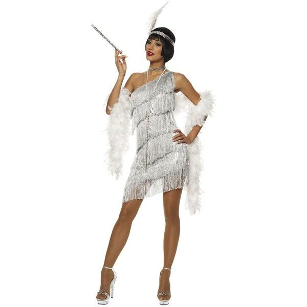 Dazzling Silver Flapper Sexy Costume Costume Craze ❤ liked on Polyvore featuring costumes, couples costumes, sexy halloween costumes, adult costumes, sexy adult halloween costumes and white flapper costume
