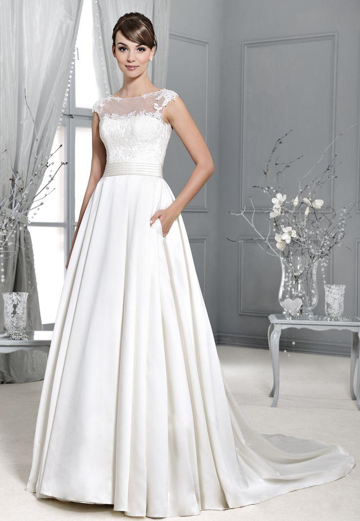 svatební šaty saténová sukně s rukávy Agnes 14017