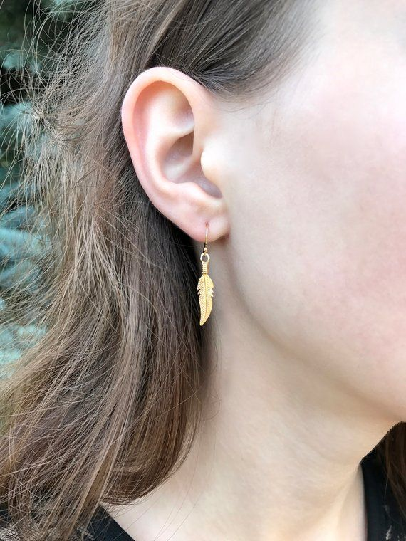 Gold Feather Earrings 14k Gold Filled Ear Wires Small Etsy Gold Feather Earrings Feather Earrings Silver Feather Earrings