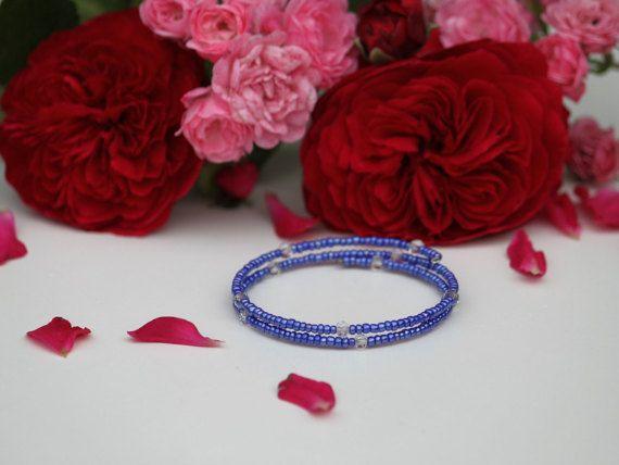 Purplish blue memory bracelet with diamond by DeaJewelryStore