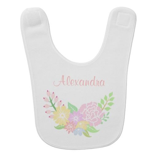 164 best personalized babys bibs images on pinterest bibs personalized baby bib floral monogram baby girl bib cute pastel flowers negle Choice Image