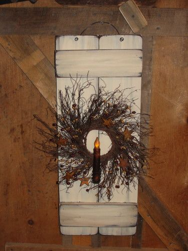 Primitive Wood Decor, Primitive LIghting, Grungy lighting, Shutter, Home Decor