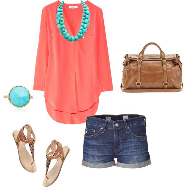 : Spring Color, Summer Outfit, Color Combos, Summer Combos, Spring Summ, Summer Color, Peachy Color, Cute Outfit, Coral Tops