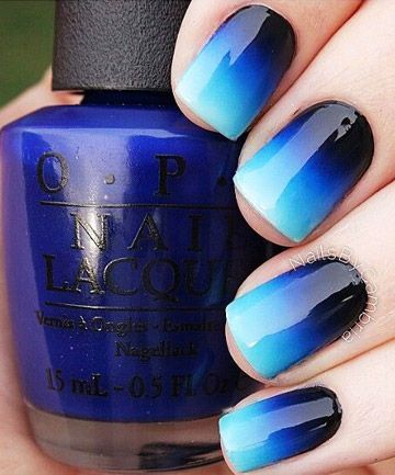 Ombre your nails by using a make up sponge. Paint the colors on the sponge and dab onto nails. WARNING: it gets messy