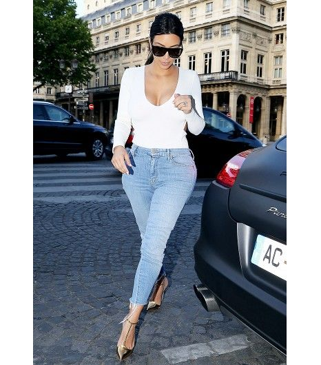 @Who What Wear - Lesson 1: Keep your denim game tight (raw hems rule).  On Kardashian: Mother The Looker Ankle Fray Skinny Jeans ($196); Christian Louboutin heels.