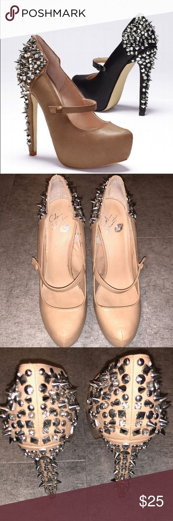 Colin Stuart Mary Jane Nude Studded Heels 8.5 BRAND: Colin Stuart purchased through Victoria's Secret  SIZE: 8.5 CONDITION: Used once. Some studs are missing. Please see photos  Leather heels with studs and spikes. Colin Stuart Shoes Heels