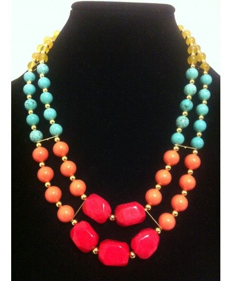 ILYAS HONEY SONIA NECKLACE  ·      Designed & made in Perth, Western Australia  ·      Stunning semi precious turquoise, yellow agate and dyed red jade  ·      Swarovski crystal coral pearls  ·      Parrot clasp closure  ·      Gold plated metal filler beads