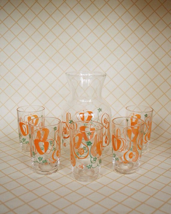 Vintage+Juice+set+with+Carafe+by+SomethingKitsch+on+Etsy