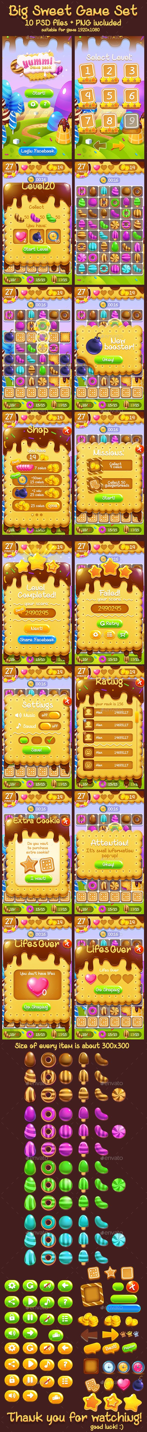 Cookie Chocolate Sweet Full Game Set - Game Kits Game Assets