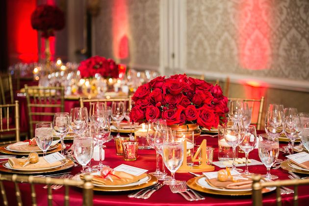 Romantic Red & Gold Wedding featured on Inside Weddings - Venue + Cake: Four Seasons Beverly Hills Photographer: Lin and Jirsa Planner: The Perfect Fairytale Floral Design: Flowers by Cina Gown Designer: LiancarloBridal Chargers: Classic Party Rentals Linens: Luxe Linen Lighting, Photo Booth: Bliss Entertainment Event Group Hair & Makeup: Dolled up by LuLu Invites: Wedding Paper Divas Place Cards: Details Beyond Design