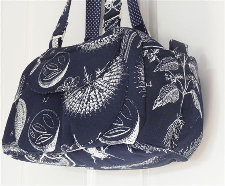 Navy Botanical Illustrations Boston Shoulder Bag