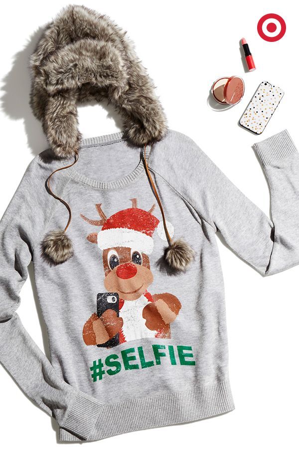 A gift fit for a selfie queen: this adorably quirky reindeer sweater, faux-fur hat, makeup and smartphone case, because Christmas parties definitely mean more selfies. ($27.99)