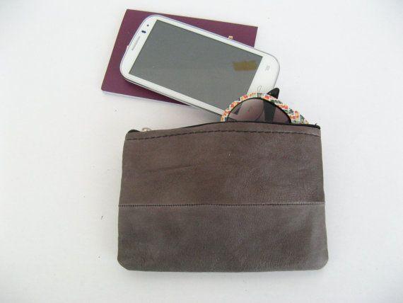 Leather clutch boho mini bag wallet travel bag   by EATHINI