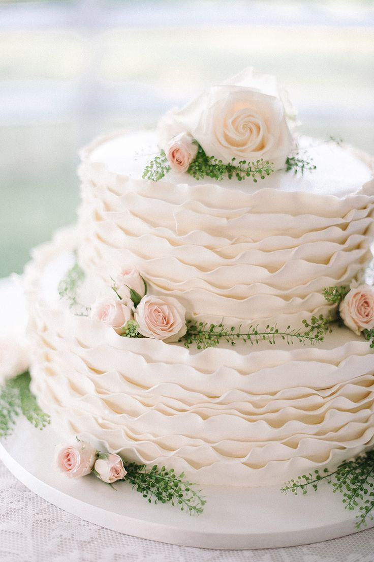Upside Down Ruffled Wedding Cake -- Do these have a name? Love 'em!! See this wedding on SMP: http://www.StyleMePretty.com/2014/02/19/classic-bradley-estate-wedding/ Photography: Jillian Mitchell