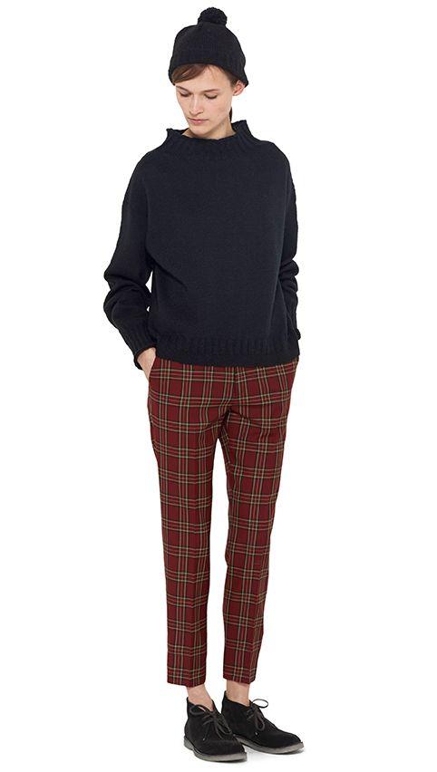 AUTUMN WINTER 14 - Black wool hand knit Guernsey, dark red wool check crop trouser,  black wool hat (MHL), black suede boot