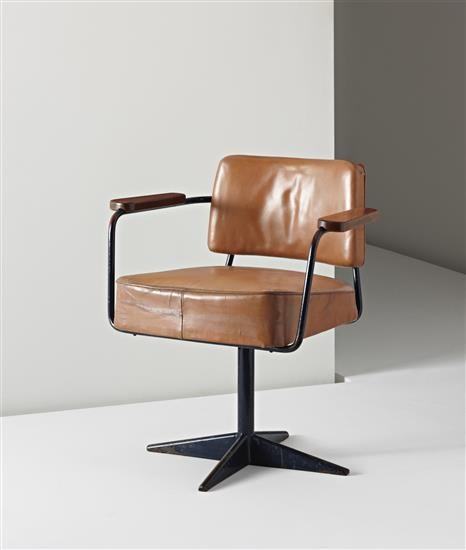 JEAN PROUVÉ Rare swiveling office chair, model no. 353, ca. 1951  Painted bent sheet steel, painted tubular steel, leather, oak. 28 3/4 in. (73 cm.) high Manufactured by Les Ateliers Jean Prouvé, France.