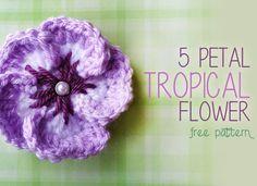Tropical Crochet Flower, Crochet Flower Pattern (click here for FREE Crochet Pattern!)