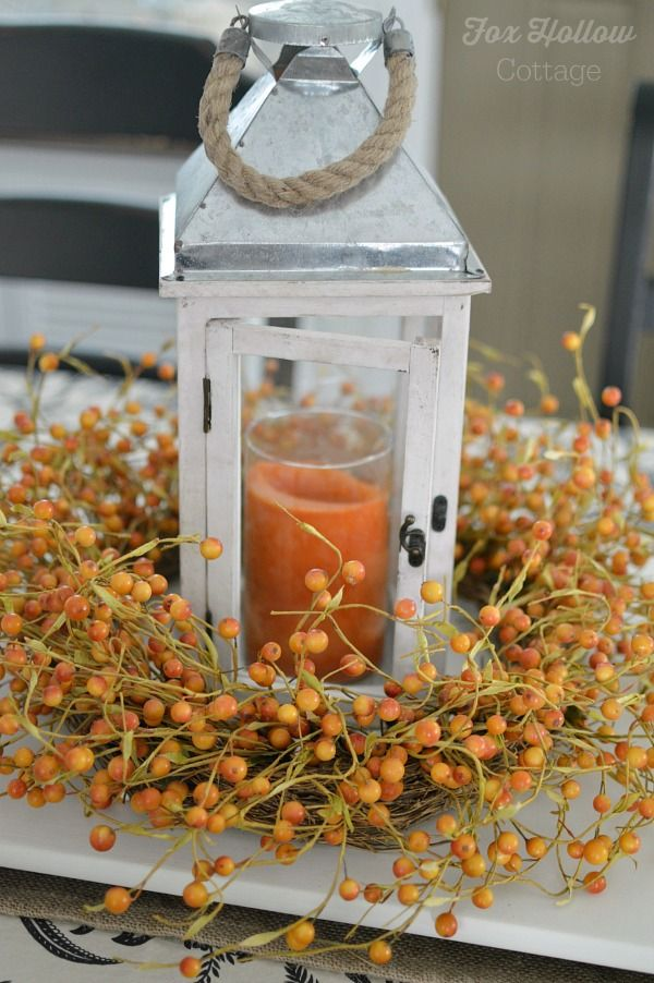 Fall Home Decor Idea: Surround a Candle Lantern with an Autumn Wreath! Easy instant Centerpiece. foxhollowcottage gets #homegoodshappy