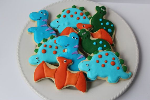 Dinosaur Cookies sugar cookies dinosaur party decorated