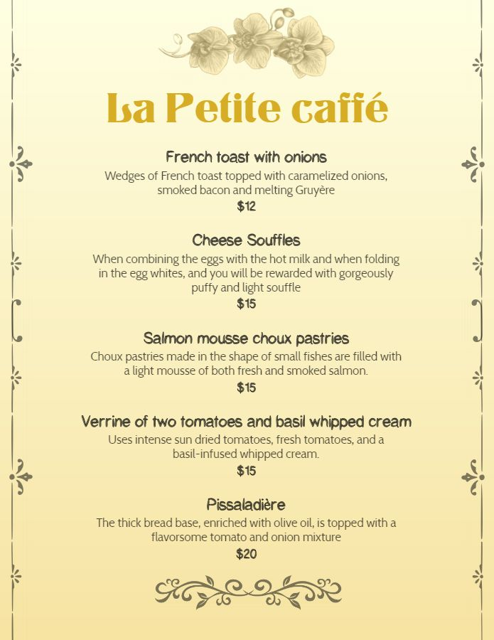 French Cafe Breakfast Menu Template Design Menu Template French Cafe Menu Breakfast Menu
