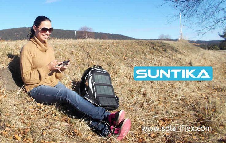 Chargeur solaire USB: Panneau solaire souple et pliable Suntika X8-USB + Batterie Lithium USB 8000mAh Suntika K8