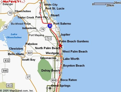 Distance between Boca Raton, FL and Miami Beach, FL
