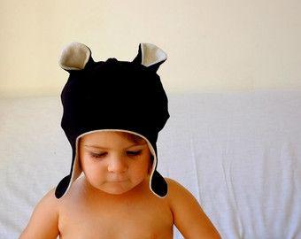 Bear Ear Hat -Black/Fleece lined/Ear Flaps/Organic/Toddler Hat/Baby Hat/Cosy Baby Winter Hat/Animal Ear Hat/Cute Baby Hat/Cute Toddler Hat