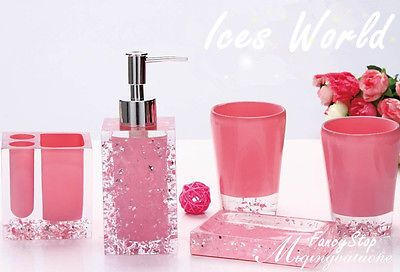 Pink Bright Resin 5pcs bathroom wash bath set toiletries sanitary ware