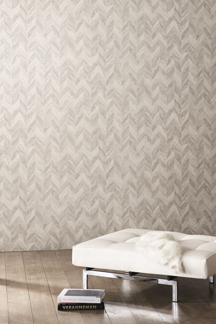 Classic Herringbone Stripe Wallpaper Design, With Marbled Detailing.