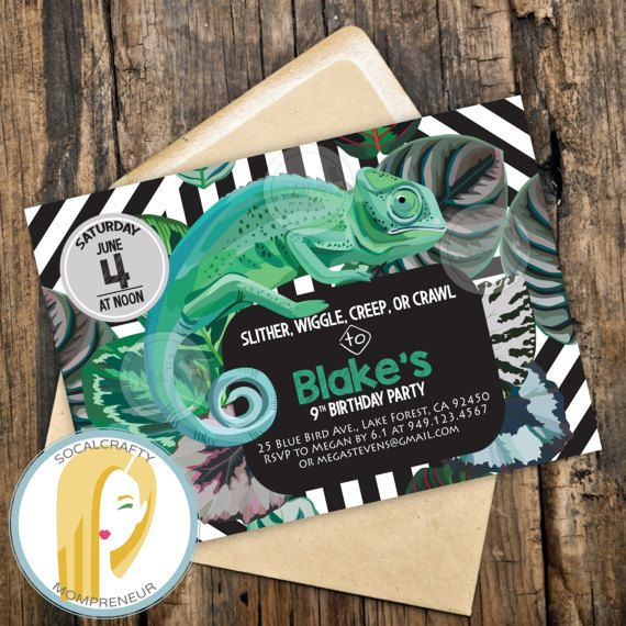 Reptile Birthday Party Invitation // Reptile Party Invitation // Lizard Invitation // Iguana Invitation // Jungle Birthday Party Invitation // Jungle Invitation // Jungle Party // Reptile Theme Birthday // Iguana Party Invitation by SoCalCrafty on Etsy. Printed or Printable invitations. $16+