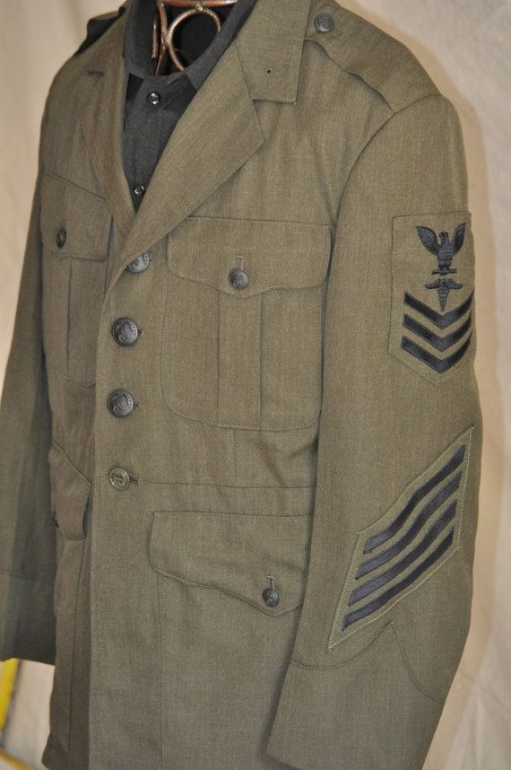 Men's Military Jacket. Vintage US Navy Dress Uniform. Sailor's Vintage Coat 1980's. Eveteam. $42.00, via Etsy.