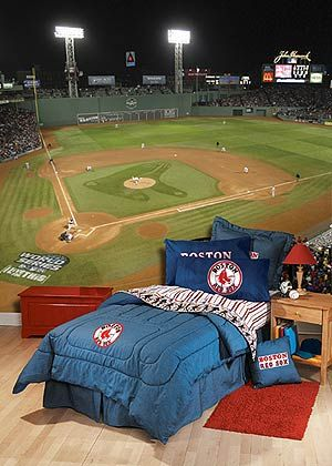 Boys Sports Murals | Boston Red Socks At Night Mural 12u2032x8u2032high $398.95 Part 71