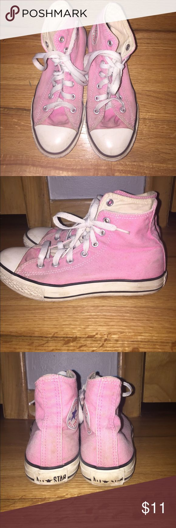 Pink high top converse Bright pink high top converse! Converse Shoes Sneakers