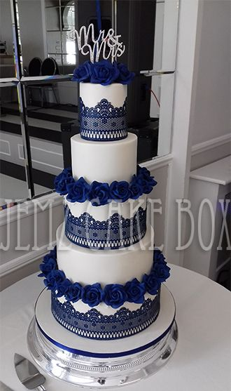 5 Tier Blue Lace Wedding Cake designed and made by Jemz Cak Box
