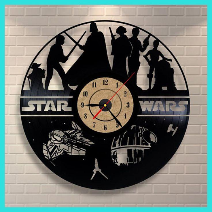 Hot Creative Clock CD Vinyl Record Wall Clock Film STAR WARS Theme Reloj de pared Watches Duvar Saat Home Decoracion
