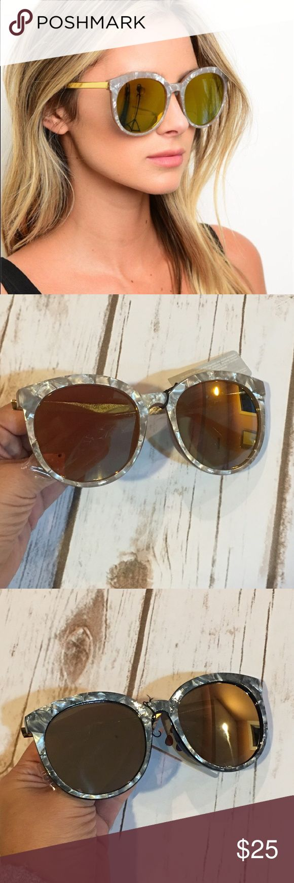 Marble Mirrored Sunglasses Brand new mirrored marble sunglasses. Available in 2 colors light gray as shown in pic 2 and dark gray as shown in pic 3. Accessories Sunglasses