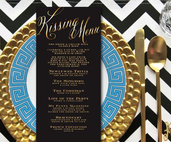 Kissing Menu, INSTANT DOWNLOAD, Wedding Kissing Menu, Elegant, Script, Gold & Black, Wedding Game, Shower Game, Wedding Reception Game