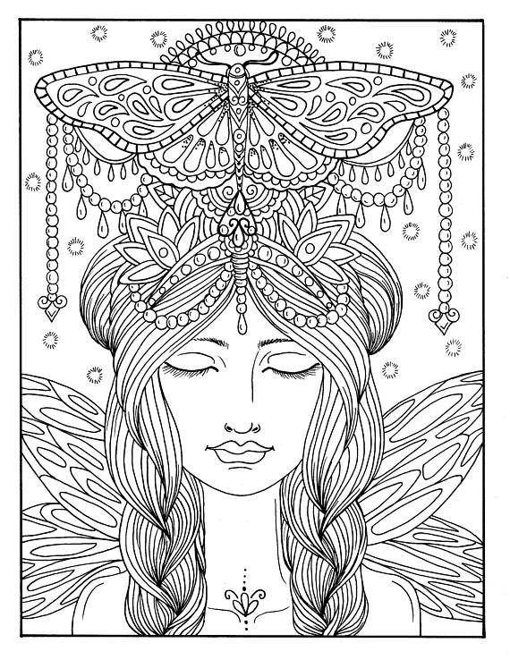 5 Pages Fairies Digital Downloads Instant Coloring Pages, fairy hair ...