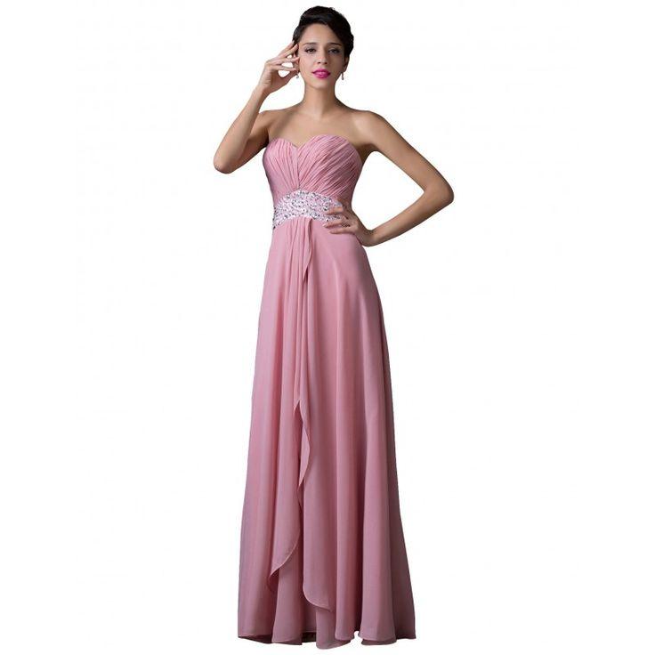 Ružové spoločenské šaty CL6202